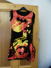 DC branded ladies medium dress, Batman print, gathered at sides, VGC!