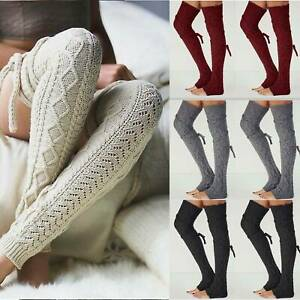 Women Winter Warm Leg Warmers Knit Knitted Crochet Long Socks Stockings Bottoms