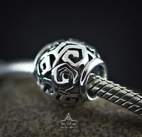 Genuine SOLID 925 Sterling silver charm bead celtic knot trinity fits bracelet