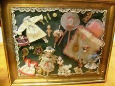 "Vintage Miniature Collage Framed Under Glass In Frame ~ Femme ~ Sweet ~ 11"" x 9"""