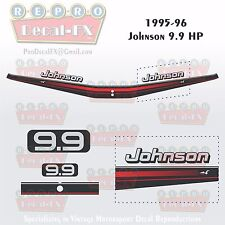 1995-96 Johnson 9.9 HP Outboard Reproduction 6 Pc Marine Vinyl Decals 2-Stroke