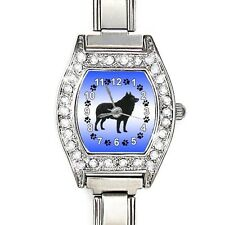 Schipperke Dog CZ Womens Stainless Steel Italian Charms Wrist Watch BJ1005