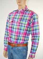 Ralph Lauren Epaulet Pink,Green Blue Plaid Long Sleeve Shirt/2 Pocket-Large-NWT