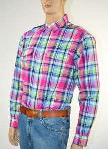 Ralph Lauren Epaulet Pink,Green Blue Plaid Long Sleeve Shirt/2 Pocket-Large-NWT