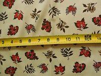 "By 1/2 Yd, 35"", Vintage 1940's-60's, Orange & Olive Berries on Tan Cotton, D134"