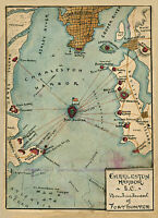 "1861 Charleston Harbor, South Carolina, Fort Sumter, Civil War, 20""x14"" MAP"