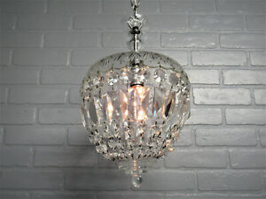 "Vintage Antique Petite Art Deco Crystal Chandelier Hollywood Glam 31.5"" L x 9.5"""