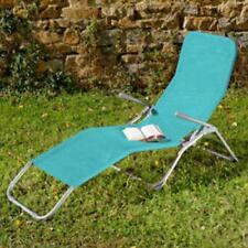 Bain de soleil en acier et textilene bleu lagon