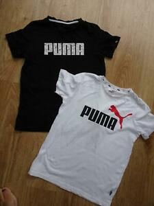 PUMA boys 2 pack white black t shirt tops AGE 11 - 12 YEARS AUTHENTIC