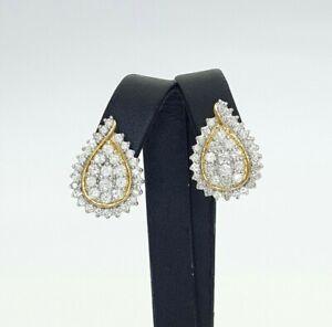 Ladies Earrings 10ct (417,10K) Yellow Gold (2.03ct) Tear Shaped Diamond Earrings