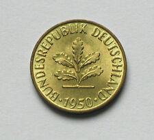 1950 D WEST GERMANY Coin - 5 Pfennig - AU+ lustre