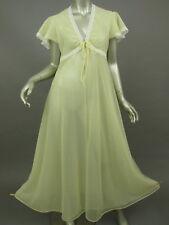 Vintage 70s Shirey Yellow Nightgown Peignoir White Lace Double Chiffon Size 13