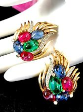 RARE CROWN TRIFARI RUBY SAPPHIRE GRIPOIX CABOCHON JEWELS OF INDIA CLIP EARRINGS