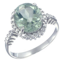 2.50 cttw Green Amethyst Ring in .925 Sterling Silver with Rhodium Oval Shape