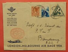 1934 NETHERLANDS LONDON-MELBOURNE AIR RACE DUTCH AIRLINES AMSTERDAM TO BATAVIA