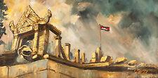 "Asian Original Wall Art Oil Painting Canvas - Cambodia Temple 20.5cmx40cm 8""Tall"