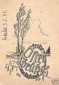 12745/ Feldpostkarte Karrikatur, Frohe Ostergrüße aus Rußland, 3.5.1943