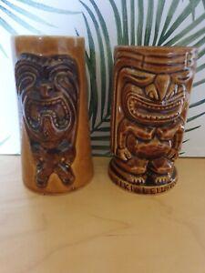 Pair of vintage brown Ku tiki mugs - Tiki Leilani / unbranded