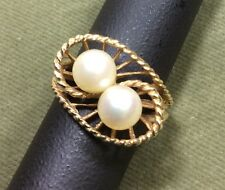 Gold Pearl Cocktail Ring Sz 7.5 Natural White 14kt Yellow Fashion Spiral Design