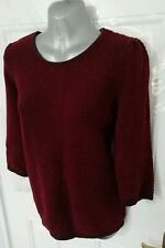 COS Ladies Size 12 (M) Burgundy Textured 100% Cotton Jumper Top VGC