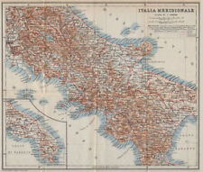 SOUTHERN ITALY. ITALIA MERIDIONALE. Topo-map mappa. BAEDEKER 1912 old