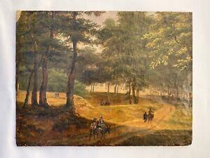 tableau XIX ème siècle  huile sur panneau carton fort promeneurs ânes