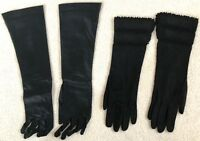 2 Pair Vintage Long Black Sz 6-1/2 Leather Suede Silk Gloves Viola Weinberger