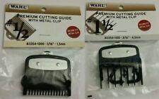 2 PCS Wahl Premium Cutting Guides Guards with Metal Clip Set #1/2 & #1 1/2