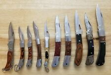 Lot of 10 Small Wood Handle Folding Pocket Knives