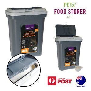 45L Pet Food Storer w/Scoop Large Dog Cat Dispenser Storage Container Clip Lock