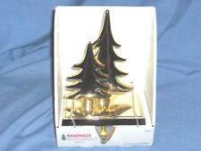 #1804 - CHRISTMAS STOCKING HOLDER, HANGER - GOLD CHRISTMAS TREES - NEW