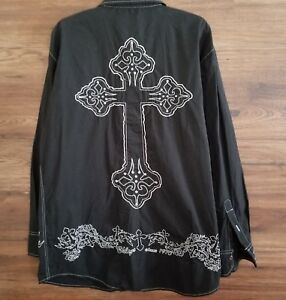 Brooklyn Xpress Mens Shirt Size Large Black Embroidered Cross Long Sleeve