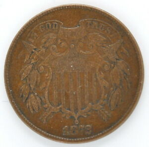 1872 Two Cent (2) USA Bronze Coin Key Date Rare Mintage 65,000