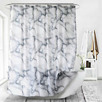 Marbled Pattern Shower Curtain Waterproof Bathroom Bathtub 180x180 Steel Rings