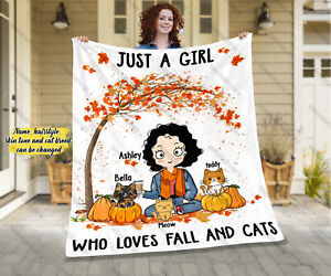 Personalized Just A Girl Who Loves Fall And Cats Blanket, Thanksgiving Gifts