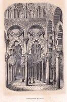 Gravure XIXe Cordoue Grande Mosquée Mezquita de Cordoba Andalousie  España 1848