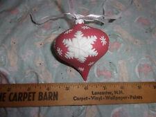 Rare Wedgwood Red White Jaspeware Christmas Red NeoClassical Teardrop Ball Orn