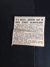 S2 Ephemera 1937 Article Paul Graham Disley Blind Fold Car Driver
