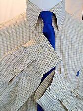 Ralph Lauren Men's Dress Shirt 16.5/34-35  100%Cotton Yellow Blue Plaid LS