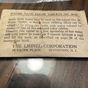 lionel 38 Pumping Water Tank Tablets In Envelope 38-70 Complete Very Rare