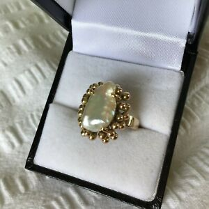 Superb 14K Rose Gold RING Baroque Keshi Pearl 6.6grams Vintage Estate...
