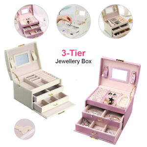 Large Jewellery Box Leather Finish Storage Drawer Cabinet Necklace Organizer Box