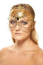 Gold Laser Cut Metal Masquerade Mask Queen Heroine Goddess Crown Prom Headpiece