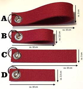 Wollfilz Filzstreifen Schlüsselanhänger Rohling mit Öse und Schlüsselring