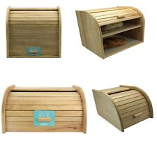 More details for rb bread bin beechwood kitchen food storage wooden canister high quality strong