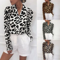 Women Long Sleeve Top T-Shirt Leopard Print Turn-down Collar Blouse Shirt LY