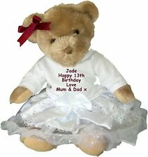 Personalised Birthday Teddy Bear Gift 1st 13th 16th 18th 21st 30th 40th - 100th