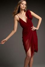 $495 Alice + and & Olivia Decia Magenta Silk Cocktail Dress Size 2 XS 4 NWT