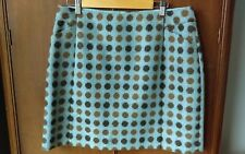 BODEN NEW Tweed by Moon Wool Skirt A-Line Blue with Brown Dots UK 16R US 12R