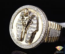 Tut Egyptian Pharaoh Fashion Ring Band Men's 10K Yellow Gold Finish Diamond King